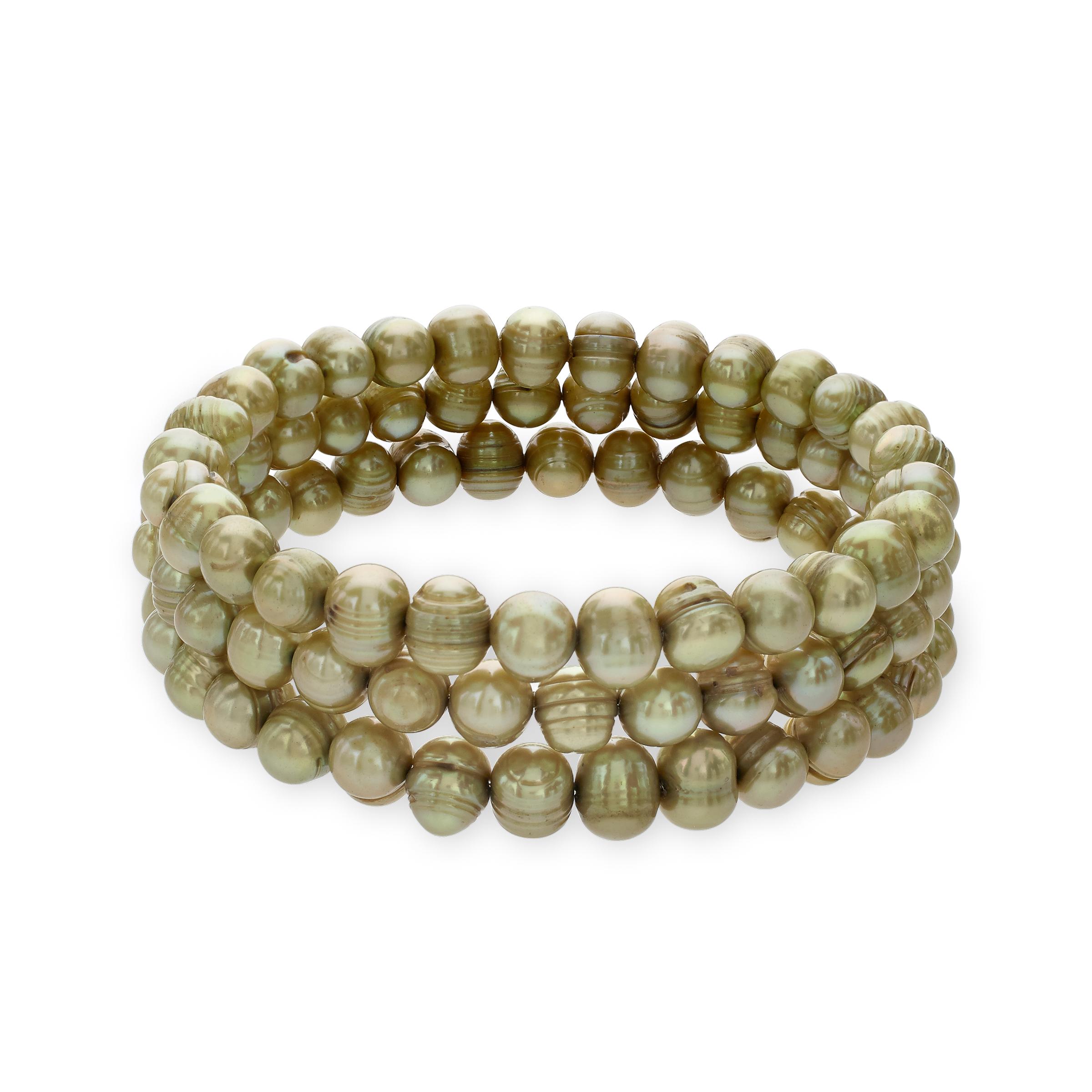 Honora Set of 3 Ringed 7-8mm Pistachio Freshwater Cultured Pearl Bangle Bead Bracelets