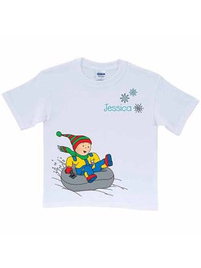 Personalized Caillou Winter Fun Toddler White T-Shirt