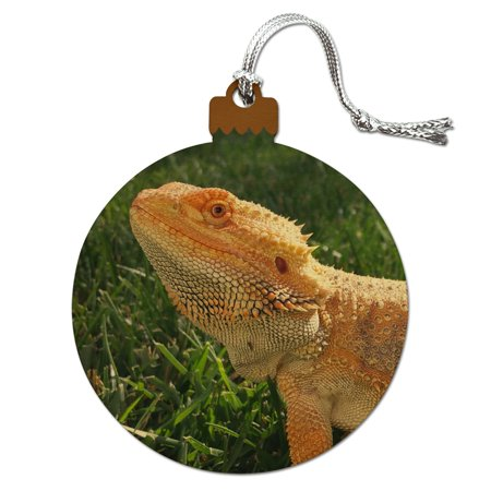 Bearded Dragon in Profile Wood Christmas Tree Holiday Ornament ()