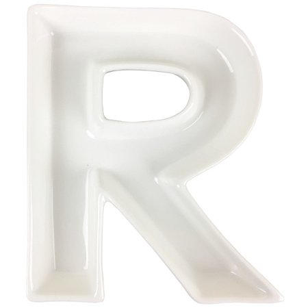 Just Artifacts - 5.5inch White Ceramic Letter Dish - Letter: R - Decorative Dishes for Weddings, Anniversarys, Baby Showers, Birthday Parties and Life - Ceramic Letter Dishes