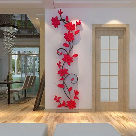 3d acrylic wall sticker, outgeek romantic flowers plant wall