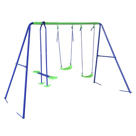 Outdoor Childrens Folding Swing Set with 2 Baby Swing & Seesaw, Best Birthday