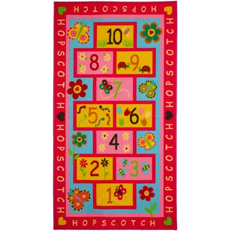 Hopscotch Rug Play Carpet – Educational & Fun Kid's Mat for Bedroom, Nursery and Classroom – 10 Numbered Squares - Colorful Flower (Carpet Square Yard)