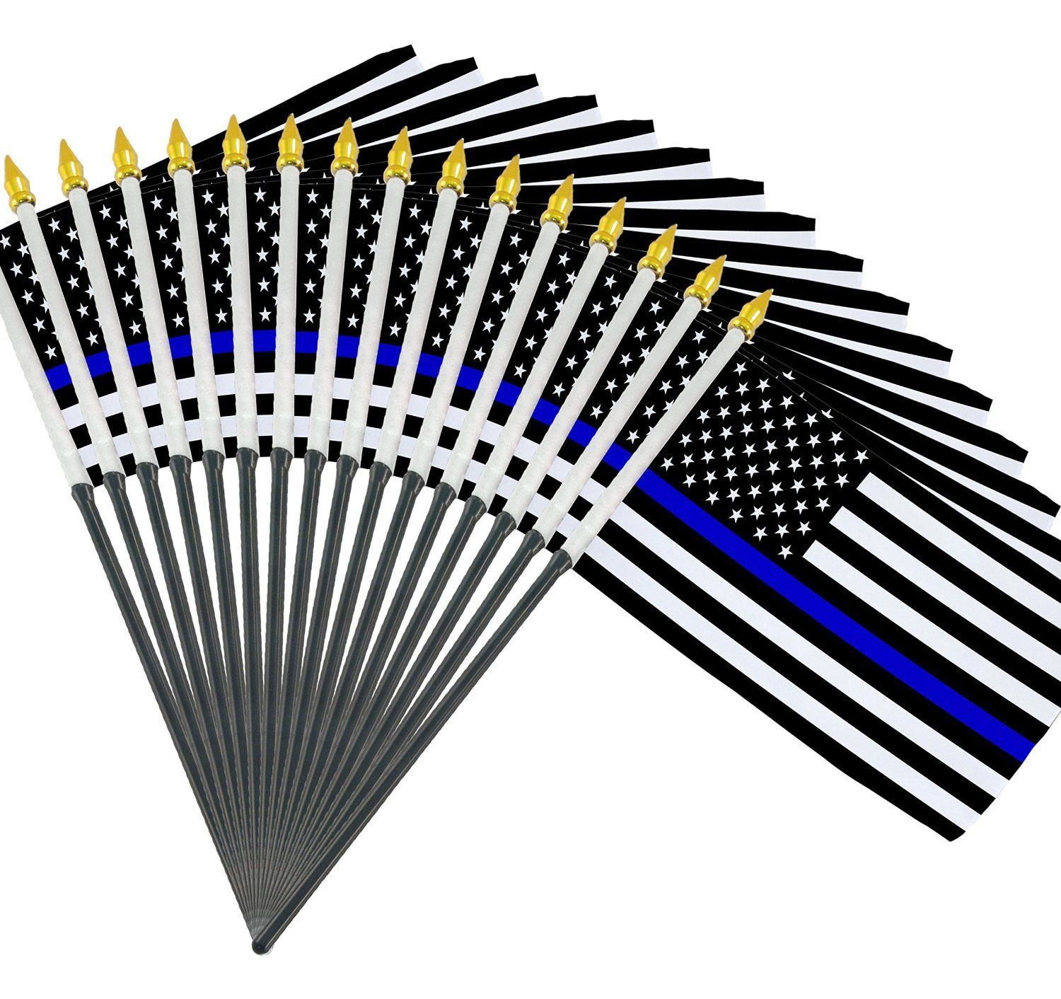 12 Pack Thin Blue Line small American Flag 4x6 inch US Police Policemen Support by NAF Imports