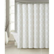 Luxury Home Lucas Jacquard Shower Curtain Set, Natural - 72 x 72 inch - 13 Piece Set