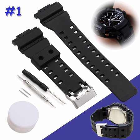 Waterproof Silicone Rubber Replacement Watch Strap Watch Band Watch Belt With Tool For G-Shock Watch Fitting 16mm Width Classic Black