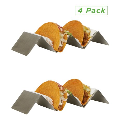 Mind Reader Stainless Taco Holder, Taco Serving Tray, Metal Taco Holder Rack, Oven, Grill Safe, Rack Holds Soft or Hard Taco Shells - 4 Pack, Silver