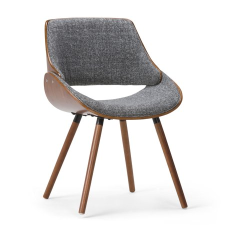 Brooklyn + Max Halston Mid Century Modern Bentwood Dining Chair with Wood Back in Grey Woven Fabric ()