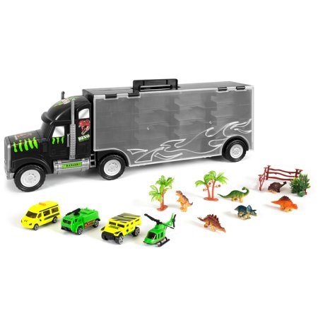Stick Figure Cat - Best Choice Products 22in 16-Piece Kids Giant Transport Semi-Truck Carrier w/ Dinosaur Figures, Helicopter, Jeep, Cars, Fence, Trees, Bushes - Multicolor