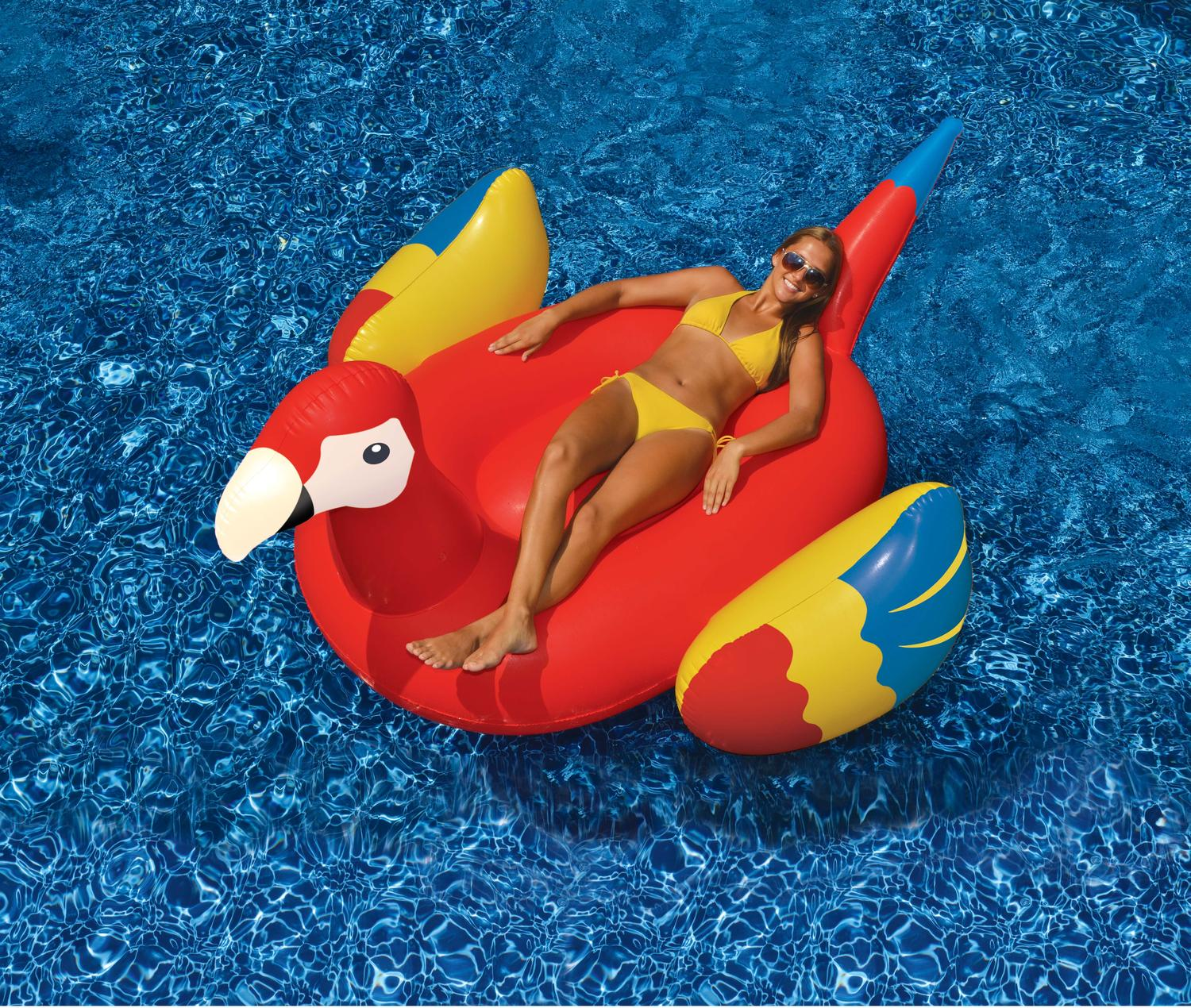 """93"""" Scarlet Macaw Parrot Novelty Inflatable Swimming Pool Floating Raft by Swim Central"""