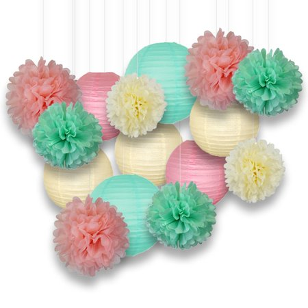 Ivory, Mint, and Pink Paper Decoration Kit, Paper Lanterns and Pom Poms, 15pcs - Buy Paper Lanterns
