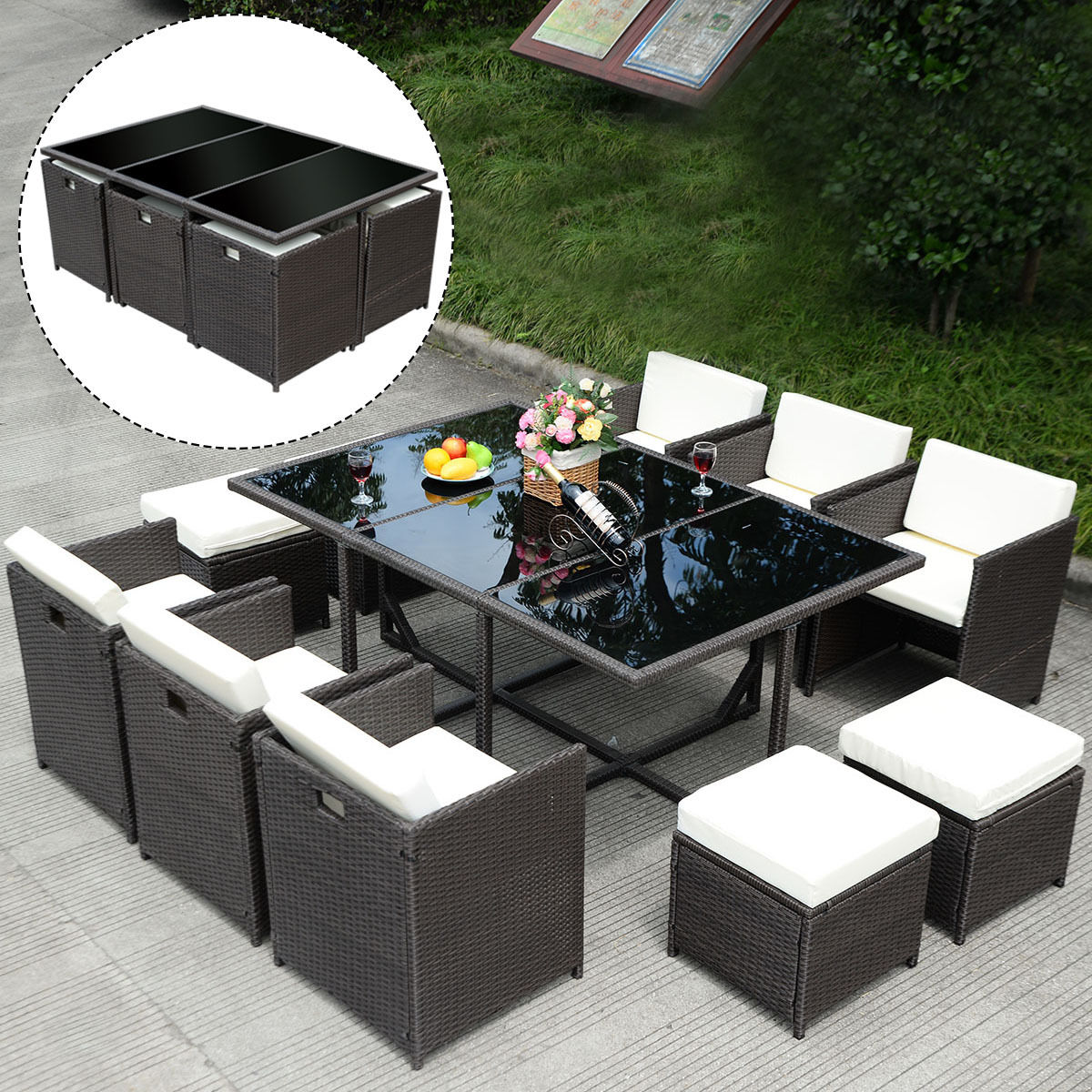 Click here to buy Costway 11 PCS Outdoor Patio Dining Room Set Metal Rattan Wicker Furniture Garden Cushioned by Costway.