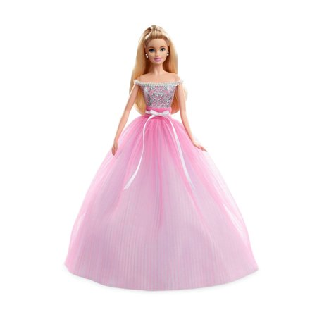 66431dee60628 Birthday Wishes Barbie Doll, Blonde Hair, Wearing Pink Party Dress ...