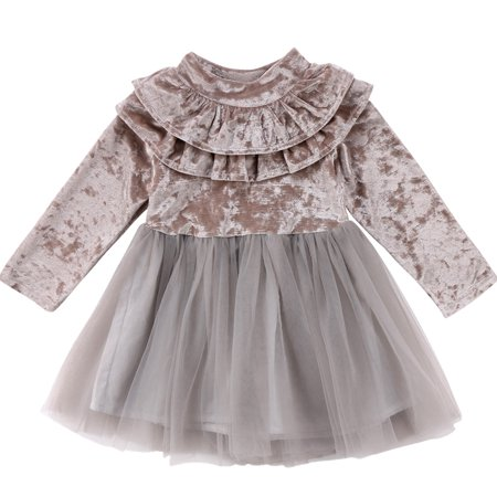 Baby Kid Girls Long Sleeve Velvet Ruffle Princess Party Tutu Dress Outfits