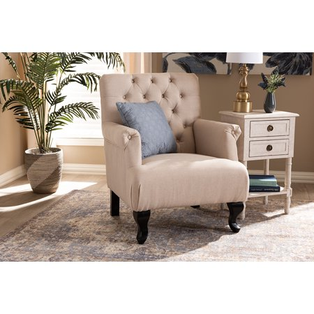 Baxton Studio Belan Classic and Traditional Beige Fabric Upholstered Button Tufted Armchair