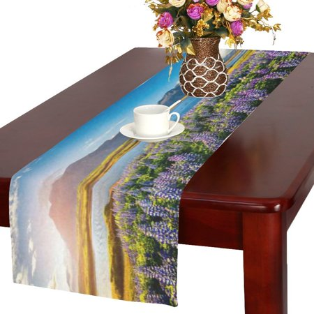 MYPOP Headland Blooming Lupine Flowers Table Runner Placemat 16x72 inches, Spring Purple Floral Table Linen Cloth for Office Kitchen Dining Wedding Party Home Decor](Spring Table Runners)