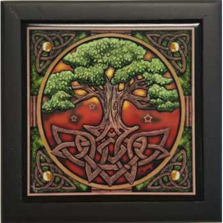 AzureGreen Decorative Boxes Trinket Treasures Tree of Life Tile Satin Black Lined Box Hinged Lid Black Satin Lined Gift Box