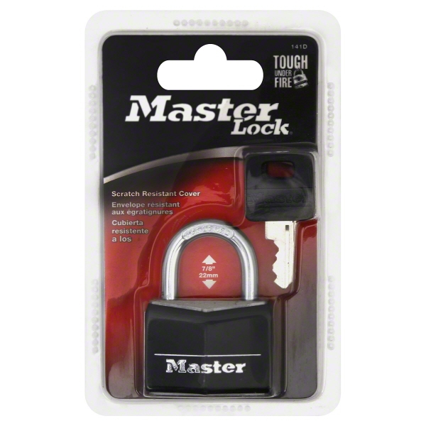 "Master Lock 141D 1-9/16"" Black Vinyl Cover Brass Padlock"