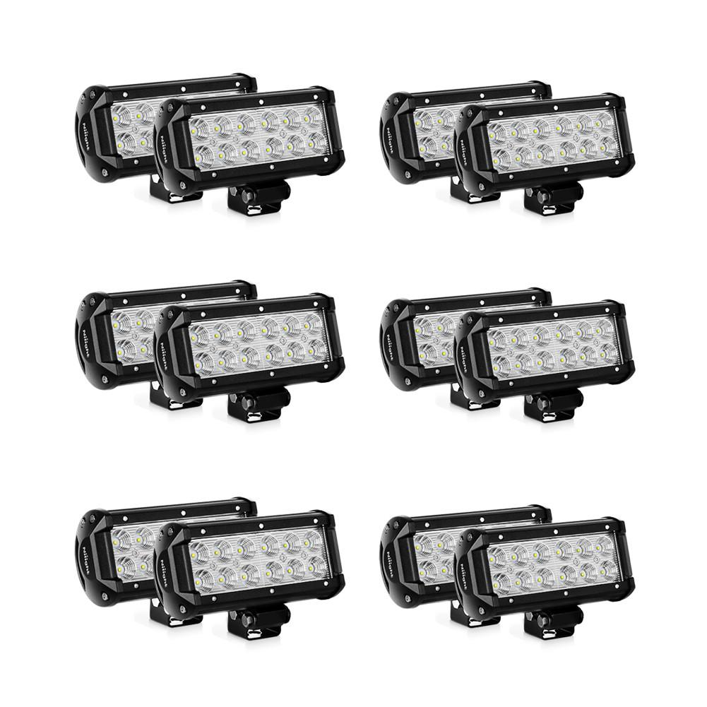 Nilight LED Light Bar 12 PCS 6.5 inch 36W LED Off Road Work Light Flood Fog Light For Atv SUV Boat Jeep Truck Tractor Lamp