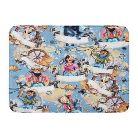 GODPOK Armadillo Blue American Cowboys Cowgirls Watercolor Arizona Jeans Rug Doormat Bath Mat 23.6x15.7 inch