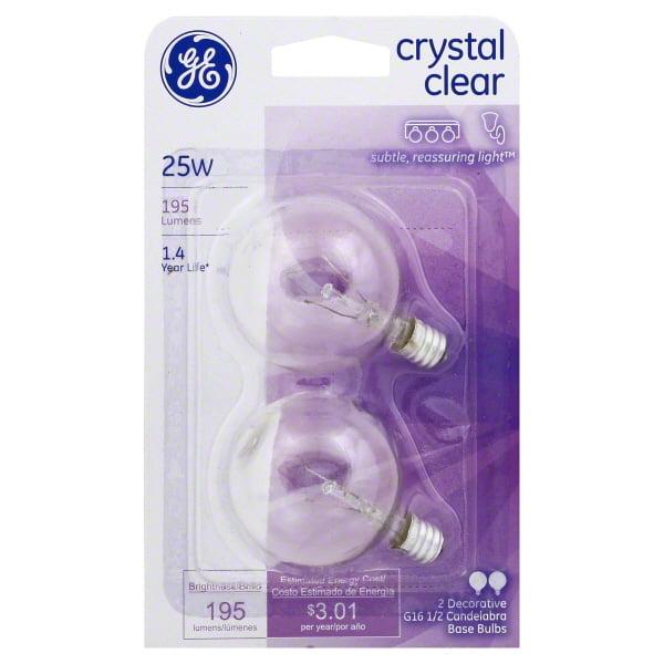 GE crystal clear 25 watt G16.5 2-pack