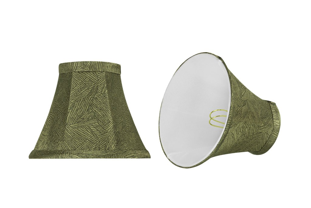 Aspen Creative 30066-2 Small Bell Shape Chandelier Clip-On Lampshade Set (2 Pack), Transitional Design in Green Print,... by Aspen Creative Corporation