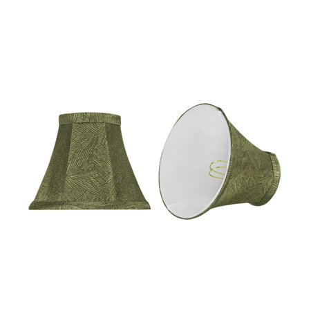Aspen Creative 30066-2 Small Bell Shape Chandelier Clip-On Lamp Shade Set (2 Pack), Transitional Design in Green Print, 6