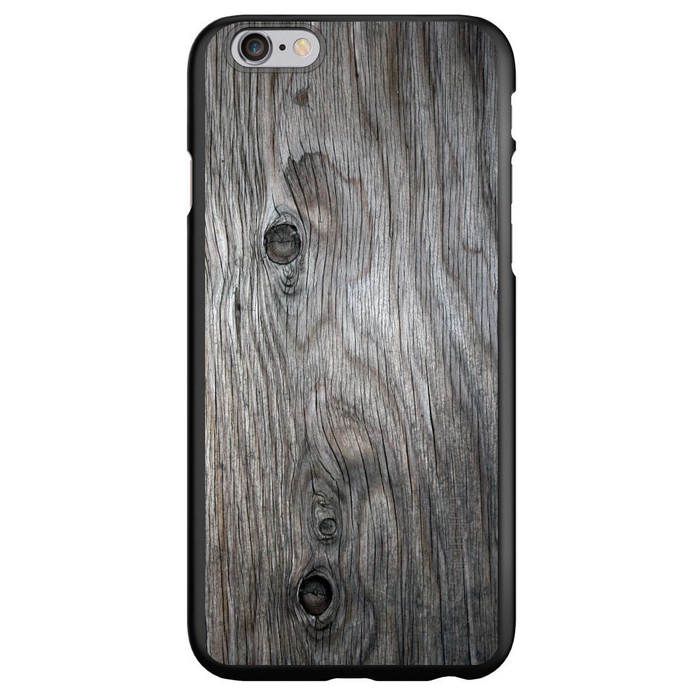 "CUSTOM Black Spigen Thin Fit Case for Apple iPhone 7 / iPhone 8 (4.7"" Screen) - Grey Weathered Wood Grain"