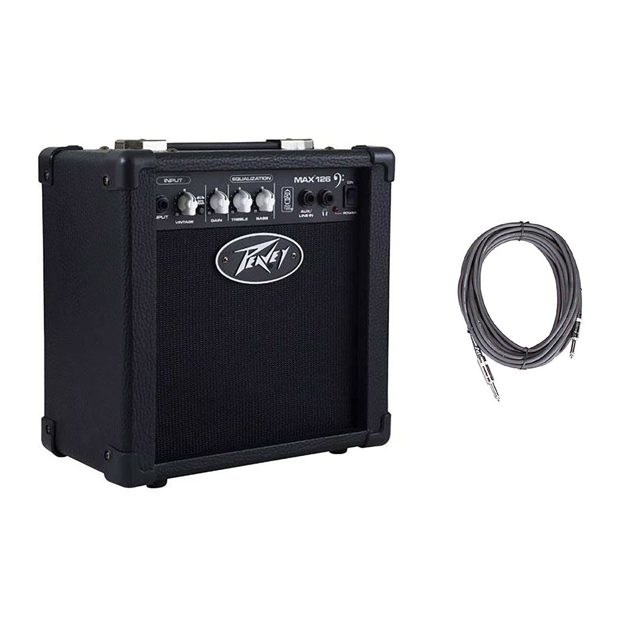 """Peavey Max 126 6.5"""" Compact Vented 10W Bass Guitar Combo Amp + 10' Cable"""