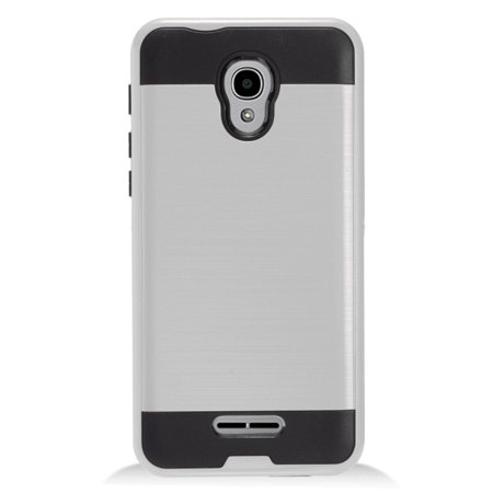 Alcatel Fierce 4 Phone Case by Insten Dual Layer [Shock Absorbing] Protection Hybrid Brushed Chrome/Hard Plastic Case Cover for Alcatel One Touch Allura/Fierce 4/Pop 4+ ()