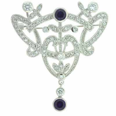 Filigree Simulated Diamond Cubic Zirconia Dangling Simulated Tanzanite Cubic Zirconia Silver Pin by SilverSpeck