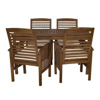 Delacora WE-BDW5SDT 5 Piece Traditional Acacia Framed Outdoor Dining Set