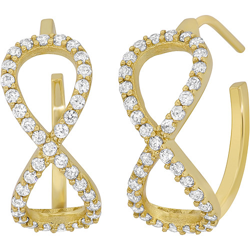 CZ 18kt Gold over Sterling Silver Infinity C-Hoop Earrings