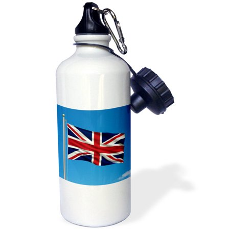 3Drose Flag Of The United Kingdom On A Flag Pole With Blue Sky Uk Great Britain British  Sports Water Bottle  21Oz