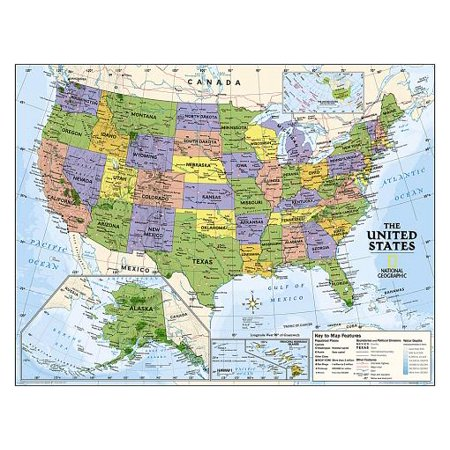 National Geographic: Kids Political USA Education: Grades 4-12 Wall Map - Laminated (51 X 40 Inches)