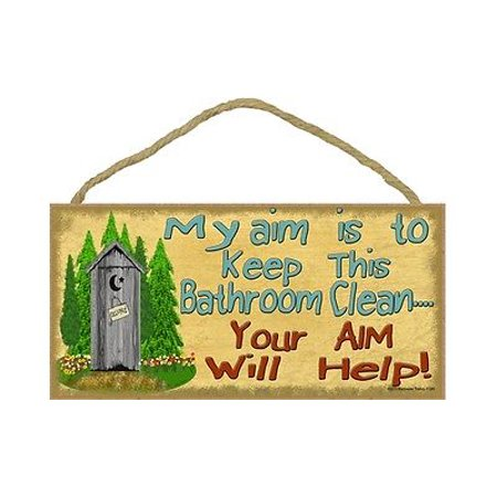AIM TO KEEP THIS BATHROOM CLEAN Outhouse Primitive Wood Hanging Sign 5