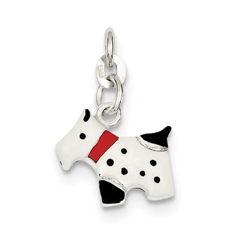 Scottie Dog Charm (Sterling Silver Enameled Scottie Dog Charm (0.6in) )