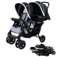 Costway Foldable Twin Double Stroller, Black