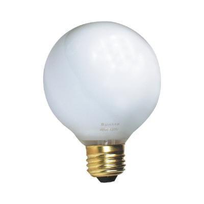 Sunlite 40w 120v Globe G25 White Incandescent Light Bulb