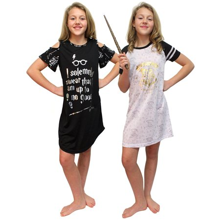 Intimo Big Girls Harry Potter Hogwarts Gold Foil Raglan & I Solemnly Swear Cut Out Nightgown Set of 2 Pajamas (Small, - Hogwarts Robes