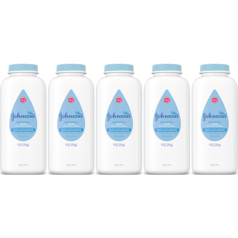 5 Pack Johnson's Baby Powder Pure Cornstarch with Aloe & Vitamin E 9oz Each by