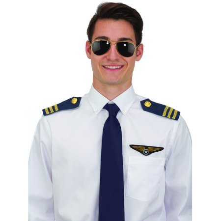 Cheap Pilot Costume (Aviator Pilot Costume Set Sunglasses Epaulets And Pilot Wings Emblem)
