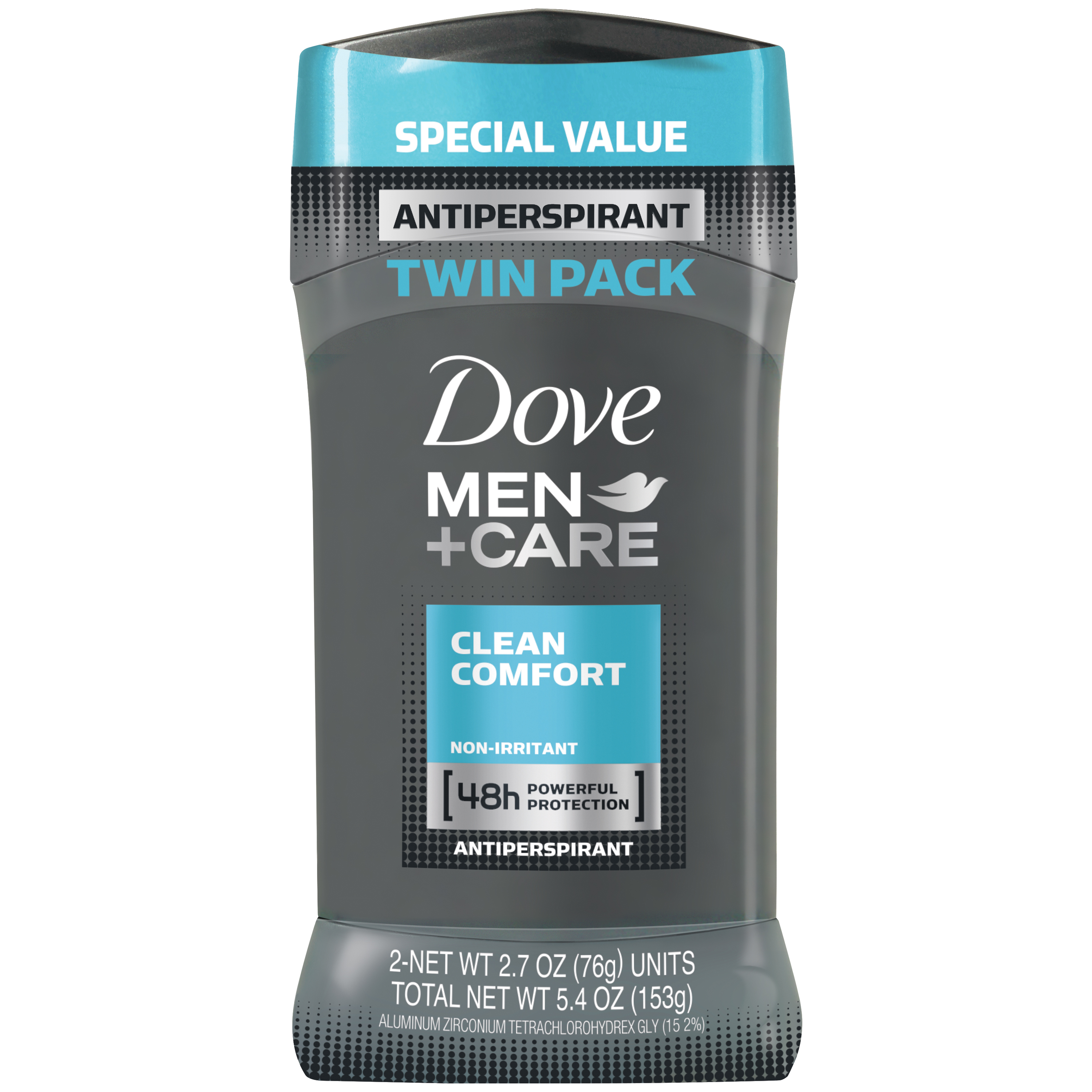 Dove Men+Care Clean Comfort Antiperspirant Stick 2.7 oz, Twin Pack