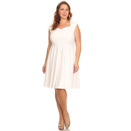 Belle Donne - Womens Plus Size Short Dress With Short Sleeves Formal - White