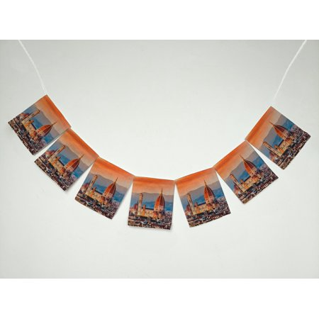 GCKG Cityscape Sunset View on Florence and Duomo Cathedral, Italy Banner Bunting Garland Flag Sign for Home Family Party Decoration - Italy Decorations
