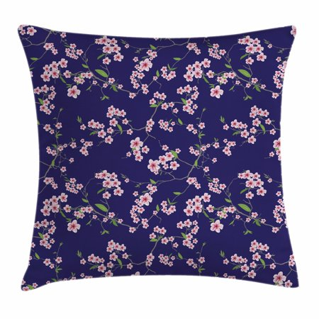 Navy and Blush Throw Pillow Cushion Cover, Blossoming Sakura Cherry Branches Chinese Asian Kimono Pattern, Decorative Square Accent Pillow Case, 18 X 18 Inches, Violet Blue Green Pink, by Ambesonne