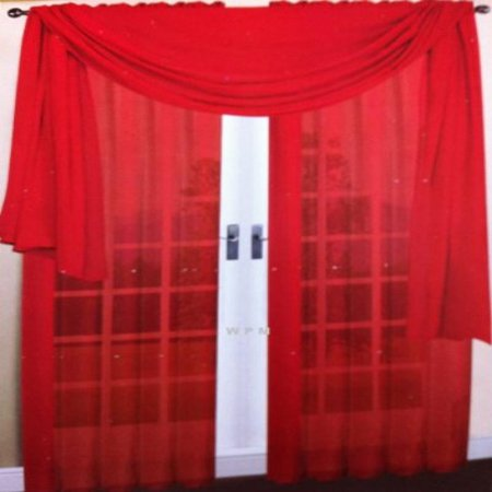 3 Piece Red Sheer Voile Curtain Panel Set: 2 Red Panels and 1 Scarf ()