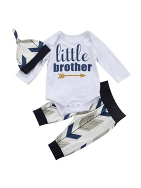 3ad6e2afcd8d Product Image Newborn Baby Boys Clothes Little Brother Printed Romper+  Casual Pants+Hat Outfits Set. Gaono
