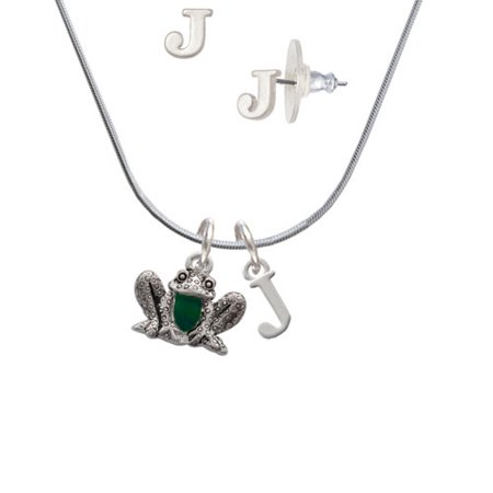 Frog Jewelry - Frog Front - J Initial Charm Necklace and Stud Earrings Jewelry Set
