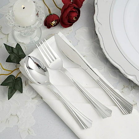 BalsaCircle 24 pcs Silver Disposable Plastic Party Set Spoons Forks Knives - Wedding Home Catering Silverware Discounted Supplies Sterling Silver Silverware